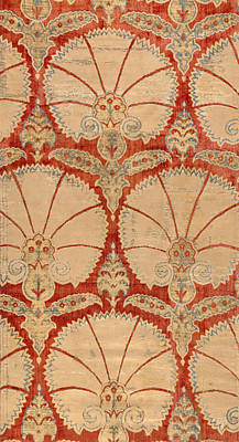 Ottoman Painting - Panel Of Red Cut Velvet With Carnation by Turkish School