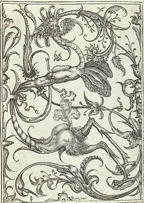Panel With Leaf Tendrils And Dragon, Johan Barra Art Print by Johan Barra And Nicasius Rousseel And Wendel Dietterlin Ii