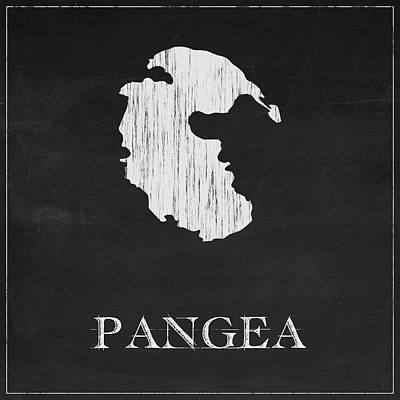 Vintage Map Digital Art - Pangea Chalk Map by Finlay McNevin