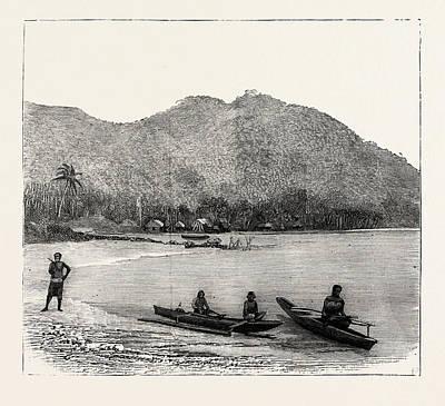 Oceania Drawing - Pango Harbour, Samoan Islands by Samoan School