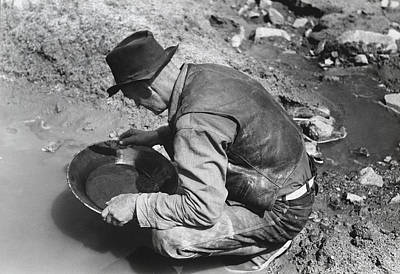 Black Jacket Photograph - Panning For Gold by Russell Lee