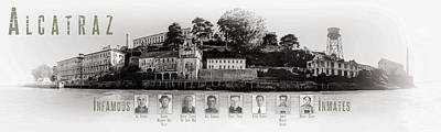 Photograph - Panorama Alcatraz Infamous Inmates Black And White by Scott Campbell