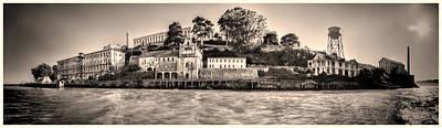 Photograph - Panorama Alcatraz Shaky Sepia by Scott Campbell