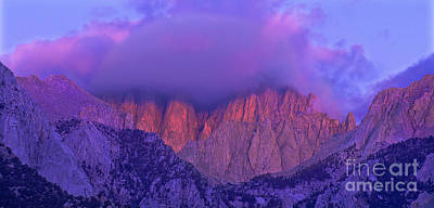 Photograph - Panorama Alpenglow On Mount Whitney Eastern Sierras California by Dave Welling