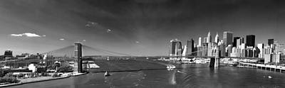 Photograph - Panorama Brooklyn Bridge by Julie VanDore
