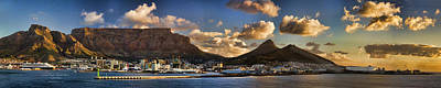 Table Mountain Photograph - Panorama Cape Town Harbour At Sunset by David Smith