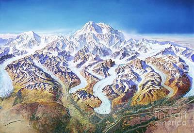Glacier Alaska Painting - Panorama Denali Park by Pg Reproductions
