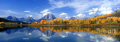 Art Print featuring the photograph Panorama Fall Morning At Oxbow Bend Grand Tetons National Park by Dave Welling