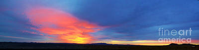 Photograph - Panorama Fire In The Sky Sunset by Roena King