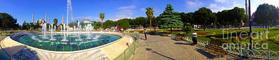 Panorama From Sultan Ahmed Park With Sultanahmet Camii Or Blue Mosque In Background Istanbul Turkey Art Print