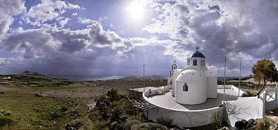 Photograph - Panorama Greece Santorini 06 by Sentio Photography
