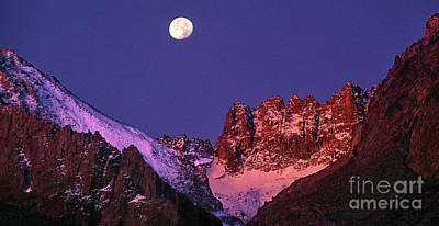 Photograph - Panorama Moonset Middle Palisades Glacier Eastern Sierras California by Dave Welling