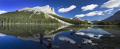 Panorama Of A Mountains Reflecting On A Art Print by Michael Interisano