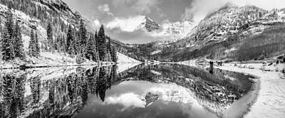 Photograph - Panorama Of Aspen's Maroon Bells - Black And White by Gregory Ballos