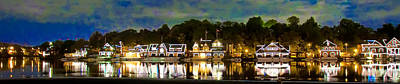 Panorama Of Boathouse Row Art Print by Bill Cannon