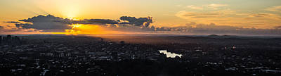 Photograph - Panorama Of Brisbane Sunrise From Mount Cootha  by Parker Cunningham