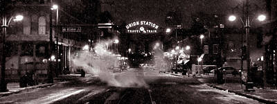 Night Scenes Photograph - Panorama Of Denver Union Station During Snow Storm by Ken Smith