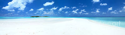 Mural Photograph - Panorama Of Deserted Sandy Beach And Island Maldives by Matteo Colombo