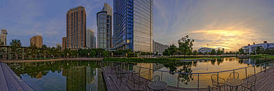Lake Harris Photograph - Panorama Of Discovery Green - Downtown Houston Texas by Silvio Ligutti