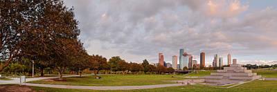 Police Art Photograph - Panorama Of Downtown Houston And Police Memorial - Houston Texas by Silvio Ligutti