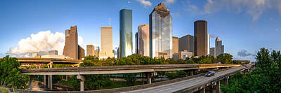 Panorama Of Downtown Houston From A Secret Location - Houston Texas Art Print
