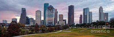 Buffalo City Hall Photograph - Panorama Of Downtown Houston From Eleanor Tinsley Park - Houston Texas by Silvio Ligutti