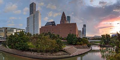Panorama Of Downtown Houston Skyline Theater District - Houston Texas Art Print by Silvio Ligutti