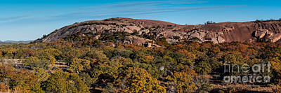 Photograph - Panorama Of Enchanted Rock And Little Rock In The Fall Season - Fredericksburg Texas Hill Country by Silvio Ligutti