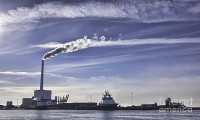 Panorama Of Esbjerg Oil Harbor Denmark Art Print
