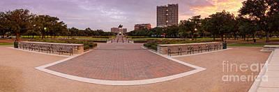 Panorama Of Hermann Park With Sam Houston Statue At Sunrise - Museum District Houston Texas Print by Silvio Ligutti