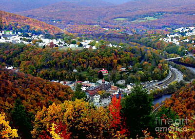 Panorama Of Jim Thorpe Pa Switzerland Of America - Abstracted Foliage Art Print