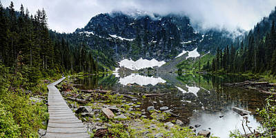 Red Cedar Photograph - Panorama Of Lake 22 And Mount Pilchuck - Cascades Washington State by Silvio Ligutti