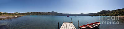 panorama of Lake Albano including pontoon and red rowing boat Art Print