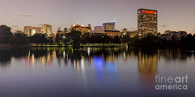 Panorama Of Mcgovern Lake And Texas Medical Center At Twilight- Hermann Park Houston Texas Art Print by Silvio Ligutti