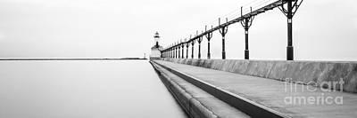 Panorama Of Michigan City Lighthouse Black And White Photo Art Print