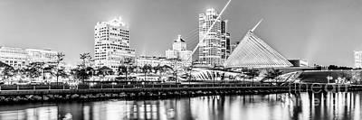 Milwaukee Skyline Photograph - Panorama Of Milwaukee Skyline At Night In Black And White by Paul Velgos