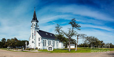 Texas Bluebonnet Wildflowers Landscape Flowers Spring Photograph - Panorama Of Sts. Cyril And Methodius Catholic Church - Dubina Texas by Silvio Ligutti