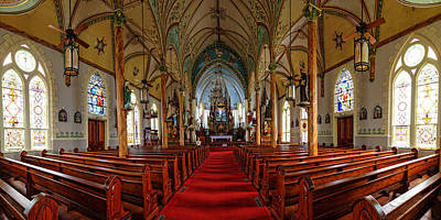 Religious Art Photograph - Panorama Of Nativity Of Mary Painted Church In High Hill Texas by Silvio Ligutti