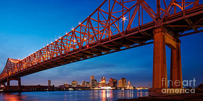 Panorama Of New Orleans And Crescent City Connection From Gretna At Dusk - Louisiana Art Print by Silvio Ligutti
