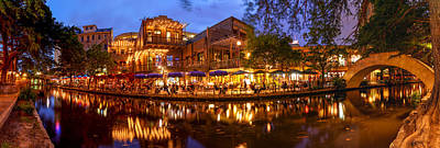 Panorama Of San Antonio Riverwalk At Dusk - Texas Art Print