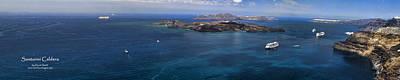 Panorama Of Santorini Caldera Print by David Smith