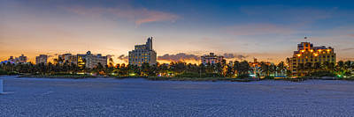 Netherland Photograph - Panorama Of South Beach And Ocean Drive Hotels At Sunset - Miami Beach Florida by Silvio Ligutti