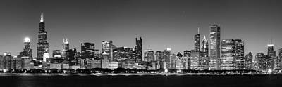 Photograph - Panorama Of The Chicago Skyline In Black And White by Semmick Photo