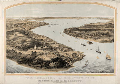 Panorama Of The Harbor Of New York, Staten Island Print by Litz Collection