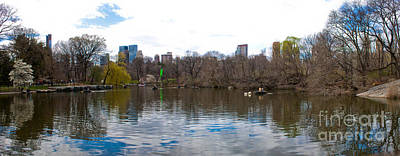 Panorama Of The Lake Of Central Park New York City Art Print by Thomas Marchessault