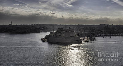 Maltese Photograph - Panorama Of Valetta Harbour Malta by Frank Bach