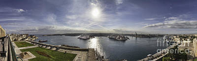 Maltese Photograph - Panorama Of Valletta Harbour Malta by Frank Bach