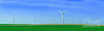 Atmosphere Photograph - Panorama Of Wind Turbines by Michal Bednarek