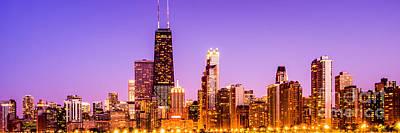 Panorama Photo Of Chicago Skyline By Night Art Print by Paul Velgos