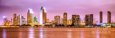 Panorama Picture Of San Diego Skyline At Night Art Print